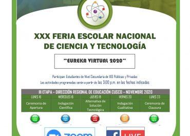 """Ganadores de la Tercera Etapa – Feria Escolar de Ciencia y Tecnología """"Eureka Virtual 2020"""" – DRE Cusco."""