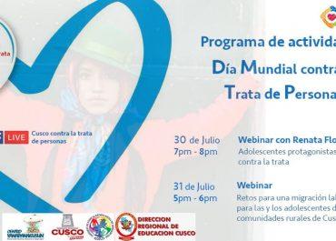 """La Dirección Regional de Educación del Cusco, se suma a la campaña por el """"𝐃í𝐚 𝐌𝐮𝐧𝐝𝐢𝐚𝐥 𝐜𝐨𝐧𝐭𝐫𝐚 𝐥𝐚 𝐓𝐫𝐚𝐭𝐚 𝐝𝐞 𝐏𝐞𝐫𝐬𝐨𝐧𝐚𝐬""""."""