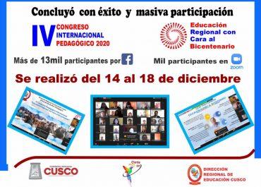 """Con éxito finalizó el IV Congreso Pedagógico Internacional denominado """"Educación Regional con Cara al Bicentenario"""" de manera virtual."""
