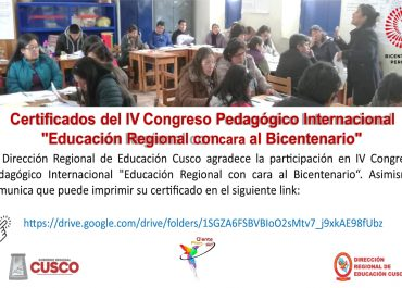 """Certificados del IV Congreso Pedagógico Internacional """"Educación Regional con cara al Bicentenario"""""""