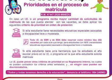 La matrícula es gratuita y no está condicionada a ningún tipo de pago para poder realizar el proceso de matrícula 2021 en la Región Cusco.
